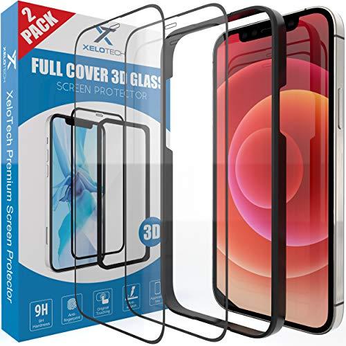 [2x Stück] Schutzglas für iPhone 12 und 12 PRO, 3D Full Cover Schutz, Panzerglasfolie, Bildschirmschutzfolie, Panzerfolie, Glas Folie