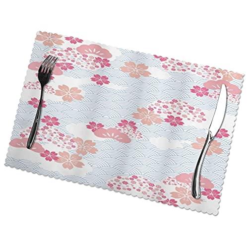 ADONINELP Manteles Individuales Squama Pattern con Cherry Blossom Land of The Rising Sun Pattern, Mantel Individual Lavable, Juego de 6 tapetes para Mesa de Comedor de 12 x 18 Pulgadas