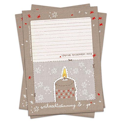 10 Stück Weihnachtskarten: Weihnachtsstimmung to go, DIY, Karte mit Kerze zum Ausschneiden und Aufstellen für Kinder und Erwachsene, garantiert flammenfrei, SET Postkarten für Weihnachten, Weihnachtspostkarten