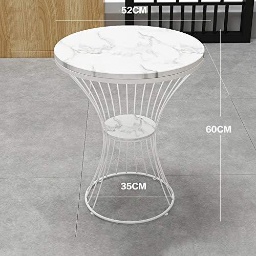 Tables FEI - Bureau d'ordinateur Basse en marbre d'appoint de canapé d'appoint Arrondie de Chevet à 2 Niveaux de Rangement pour Tous Les postes de Travail