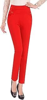 BOZEVON Womens High Waist Plus Size Pants - Casual Straight Leg Trousers Stretch Nine Points Leggings