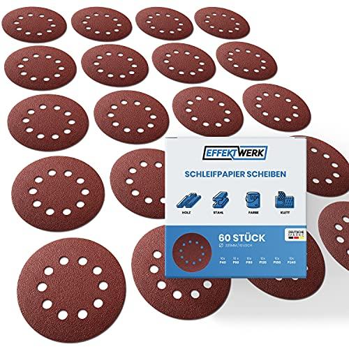 EFFEKTWERK Schleifpapier 225mm Klett - 60 Stück - Profi Schleifscheiben für Trockenbauschleifer Schleifgiraffe Langhalsschleifer - 10 Loch - rund - mit Körnung 10x P40 P60 P80 P120 P180 P240