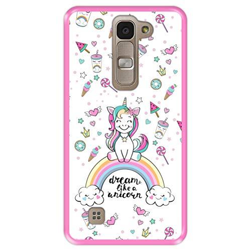 Hapdey Funda Rosa para [ LG G4 Mini - G4c - Magna ] diseño [ Arcoiris, sueña como un Unicornio ] Carcasa Silicona Flexible TPU