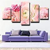 GSDFSD Decor Salon Modernos 5 Piezas Murales Pared Bonita Flor de peonía Rosa de la Imagen óleo para el hogar decoración Moderna impresión (Enmarcado Tamaño 150x80cm)