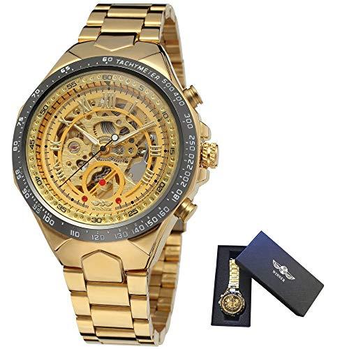 SShuangxu Reloj para Hombres, Reloj mecánico automático Winner, Reloj mecánico Esqueleto, Reloj Steampunk de Acero Inoxidable Resistente al Agua