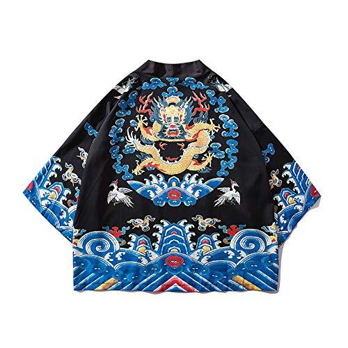 Haori Chaqueta Hombres, Ropa 2020 Japonés Tradicional Cardigan Kimono Hombres Ukiyo-e Estilo Streetwear Volador Grulla Impresión Traje Yukata Haori,Negro-M
