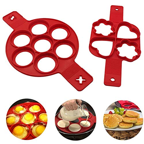 BTkviseQat Nonstick Silikon Ei Ring Pfannkuchen Form, Neue verbesserte Silikon auslaufsichere Design, Wiederverwendbare Silikon Non Stick Pfannkuchen Maker 2er-Pack(BPA-Frei)