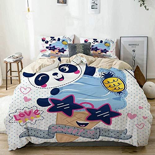 Funda nórdica, Caricatura Linda Chica Panda con Helado con Gafas de Sol en el Juego de Funda nórdica de Lunares, con Corbatas de Cremallera, Funda de edredón de edredón Estilo plumón