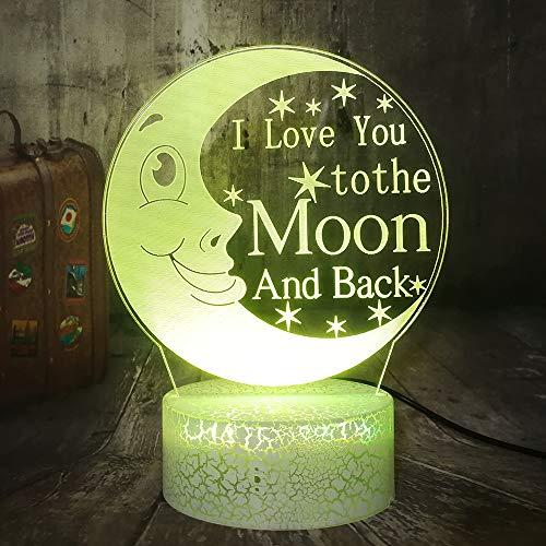 Je t'aime a la folie, luz nocturna LED 3D, San Valentín romántico I Love You, mando a distancia, sensor de movimiento, 7 colores Crackle Base,Regalos románticos para él/él, decoración de dormitorio