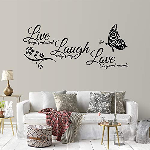 Adhesivos decorativos de pared Supzone Live Laugh Love con texto en inglés «Laugh Love»