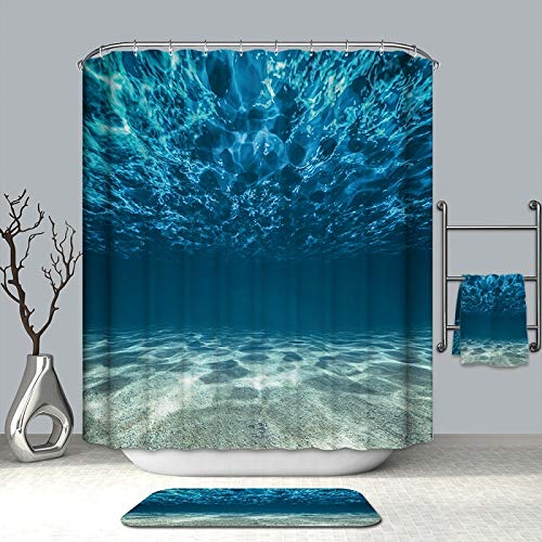 DECMAY Ocean Decor Shower Curtain Set Tropical Seascape Bright Sunshine Through Deep Blue Sea View Underwater Picture Bathroom Shower Curtain Polyester Fabric 71''W x 71''L