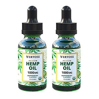 Vervose | Organic Hemp Oil 1000mg (2 Pack) | Anxiety Relief, Sleep Aid, Inflammation and Weight Loss | All Natural | Vegan | Made in The USA (1000mg) from Vervose