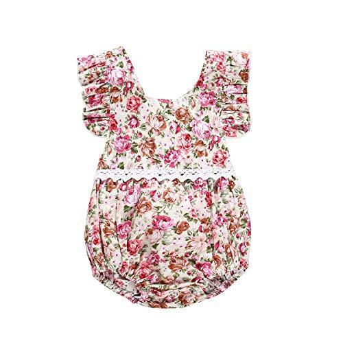 puseky Infantile bébé fille imprimé floral combinaison mode d'été One Piece Strap Romper (Color : As Shown, Size : 18-24M)
