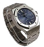 Sportlich Elegante Herren Automatik Uhr, Saphirglas, massives Armband, Miyota Uhrwerk, Didun Royal One Silber/Blau