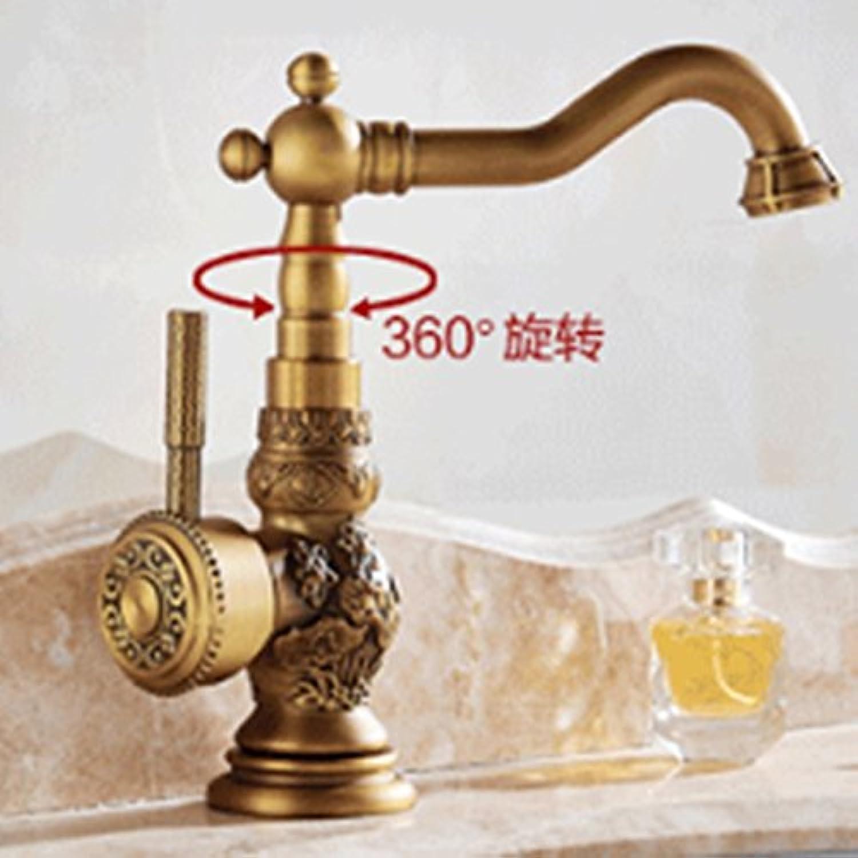 VanMe Basin Faucet Swivel Spout Single Handle Hole Vessel Sink Mixer Tap Deck Mounted Antique Brass Faucet