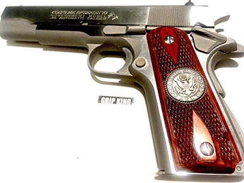 1911 GRIPS,SALE 41.73,U.S.ARMY,BURLED ROSEWOOD,FITS WILSON,SIG,COLT,KIMBER,PARA,RUGER,TAURUS,SPRINGFIELD,REMINGTON,CLONES. MADE IN U.S.A.
