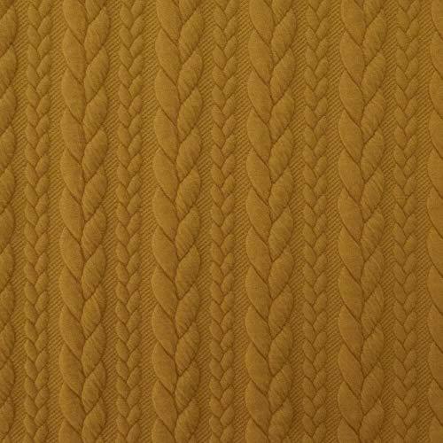 Qualitativ hochwertiger, dehnbarer Strickstoff mit Zopfmuster in Gelb als Meterware zum Nähen von Kinder- und Erwachsen Kleidung, 50 cm