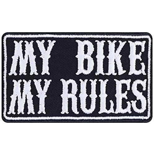Parche de motero My Bike – My Rules – Parche para planchar, imagen de cruiser, regalo para hombres/mujeres, para chaquetas, chalecos, vaqueros y maletines de moto, 75 x 45 mm