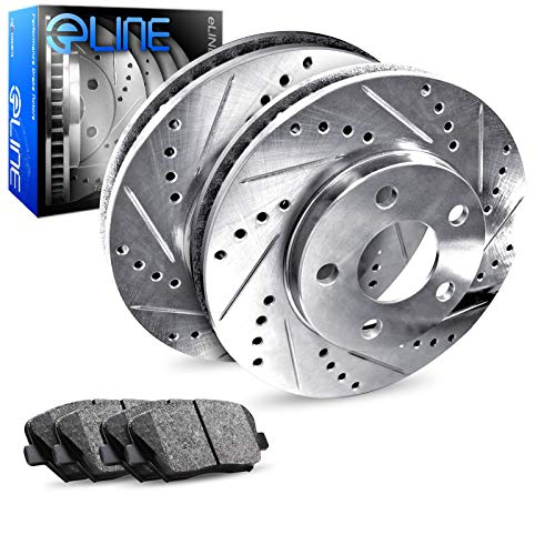 Rear R1 Concepts eLine Drilled Slotted Brake Disc Rotors & Ceramic Brake Pads REC.42089.02