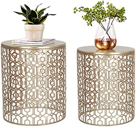 Best Joveco End Tables Set of 2 Coffee Table Decorative Nesting Round Gold Nightstands (Gold)