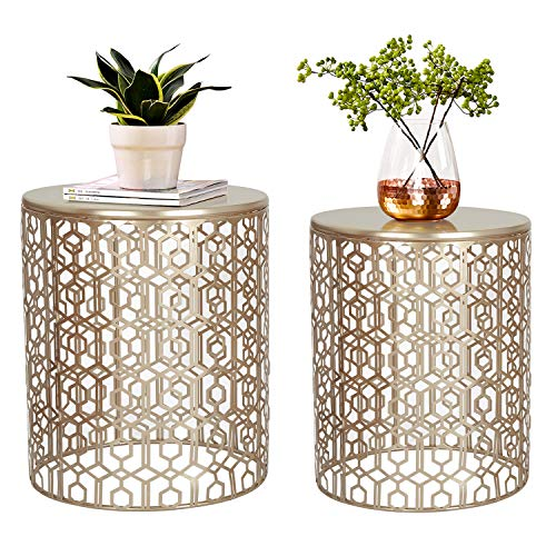 Joveco End Tables Set of 2 Coffee Table Decorative Nesting Round Gold Nightstands (Gold)