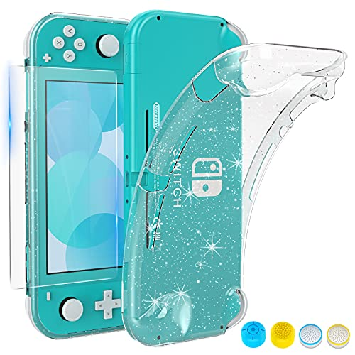 HEYSTOP Hülle Kompatibel mit Nintendo Switch Lite, mit gehärtetem Glas Displayschutzfolie und 4 Daumengriff, TPU Schutzhülle für Switch Lite mit Anti-Kratzer/Anti-Staub (transparent)