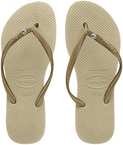 Havaianas Slim Crystal Glamour SW, Chanclas para Mujer, Beige (Sand Grey/Light Golden), 39/40 EU