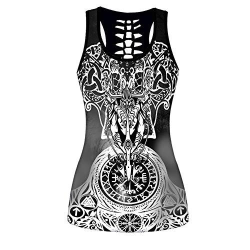 LRKZ Camisetas Sin Mangas Vikingas Mujer/Leggings de Cintura Alta Conjuntos Chándales,Pantalones Compresión Estampado Runas Odin Estampado 3D Conjunto Ropa Deportiva Yoga,Black b,S