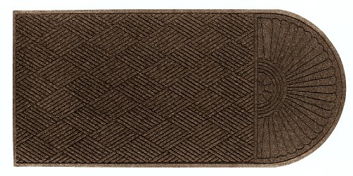 M+A Matting 2248 Chestnut Brown PET Polyester WaterHog ECO Grand Premier Entrance Mat, Half Oval One End, 5.9' Length x 4' Width, for Indoor/Outdoor