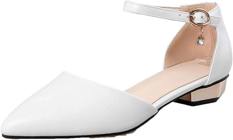 AllhqFashion Women's Closed-Toe Buckle Pu Solid Low-Heels Sandals