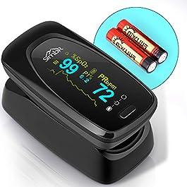 SIMBR Pulsossimetro,Saturimetro da Dito Portatile Professionale con Display LCD per Frequenza del Polso(PR) e La saturazione di Ossigeno(SpO2) Misure.