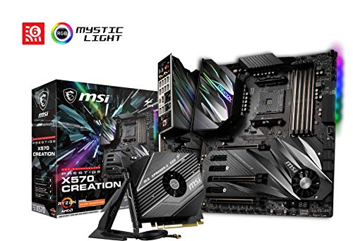 MSI Prestige X570 Creation - Placa Base (Chipset AMD X570, DDR4, Audio Boost, Intel Lan, Socket AM4, Wi-Fi, Soporta AMD Pocesadores) Color Negro