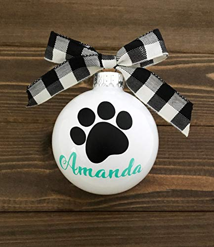 1.5' Christmas Ball Ornaments, Custom Pet Ornament - Pet Name Ornament - Personalized - Paw Print Ornament - Dog Name Ornament - Dog Mom Gift - Pet Gift- Shatterproof Christmas Decorations Tree Balls