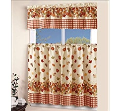 Ehp 3 Piece Printed Kitchen Curtain Set 1 Valance 2 Tiers Autumn Kitchen Dining Amazon Com