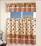 EHP 3 Piece Printed Kitchen Curtain Set, 1 Valance & 2 Tiers (Autumn)