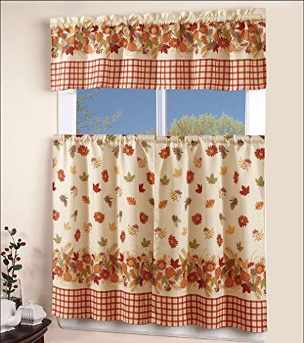 EliteHomeProducts EHP 3 Piece Printed Kitchen Curtain Set, 1 Valance & 2 Tiers (Autumn)