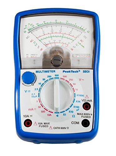 PeakTech Analog Multimeter ; Cat III 600V ; Amperemeter 10A DC ; Voltmeter 500V AC/DC ; Ohm-Meter ; Durchgangsprüfer, 1 Stück, P 3201