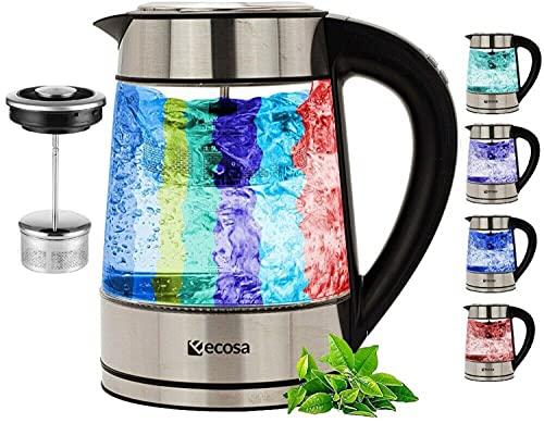 Glas Wasserkocher mit Teesieb und Kalkfilter | 1,7 Liter | Temperatureinstellung 40°C-100°C | 2200 W | Edelstahl mit Temperaturwahl | 100% BPA FREI | Warmhaltefunktion | LED Beleuchtung Farbwechsel