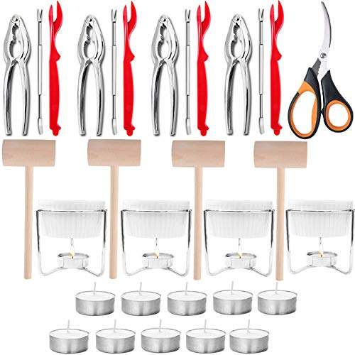 Artcome 31 Pcs Seafood Tools Set includes 4 Crab Forks, 4 Lobster Crab Crackers, 4 Lobster Shellers, 4 Butter Warmers, 4 Lobster Crab Mallets, 1 Seafood Scissor and 10 Tealight Candles