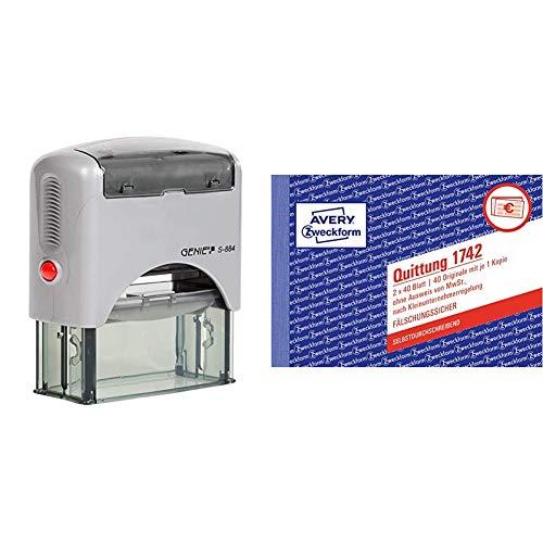 Genie S-884 Selbstfärbender Stempel Set, schwarz/silber & AVERY Zweckform 1742 Quittungsblock Kleinunternehmer (A6 quer, 2x40 Blatt, mit Durchschlag, fälschungssicher, ohne MwSt.) weiß/gelb