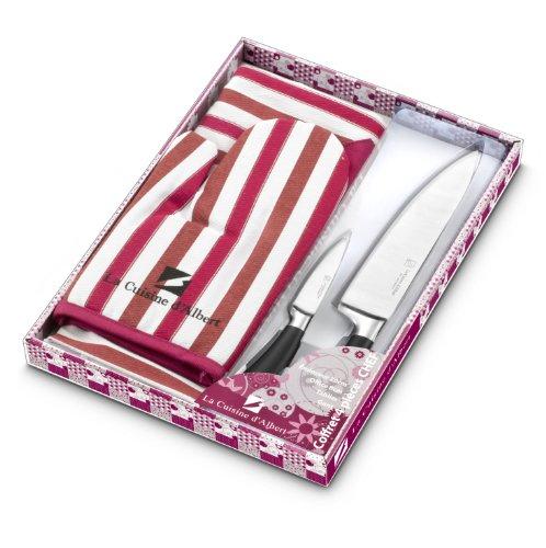 La Table d'Albert, 009950, Set di coltelli da Cucina, 4 pz, incl. 2 coltelli in Acciaio Inox, 1 Tagliere e 1 Guanto, Viola (Violett)
