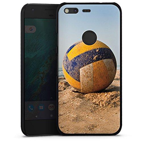 DeinDesign Hard Case kompatibel mit Google Pixel XL Schutzhülle schwarz Smartphone Backcover Volleyball Sand Hobby