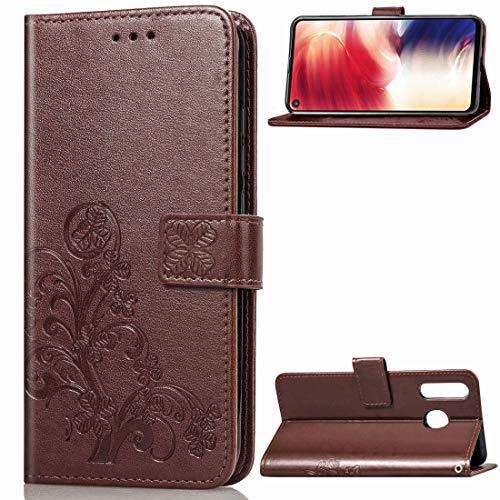 JIALI casos de teléfono celular Multifunción de teléfono celular casos y cubiertas Lucky Clover flores prensadas del cuero del patrón for el Galaxy A8s, con el sostenedor y ranuras for tarjetas y mone