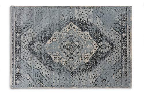 LIFA LIVING Alfombra Vintage para salón y Dormitorio, 133 x 200 cm, Alfombra de salón con Estampado Oriental Azul, de Lana Suave