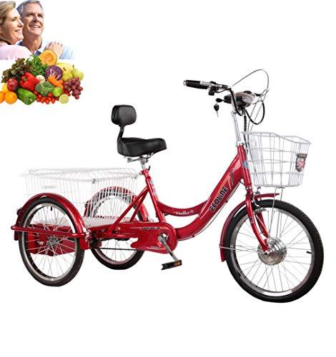 Triciclo adulto bicicletta a tre ruote 20 '' servoassistito elettrico 3 ruote bici per genitori Batteria al litio 250W motore Con cesto della spesa extra Mobilità triciclo Esercizio Carico 200 kg