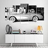 VKEXVDR 5 Paneles Pintura de la Lona Mural Carro Viejo Arte Fotos Paisaje Imprimir Decoración Moderna del Ministerio del Interior Sin Marco 200 * 100cm