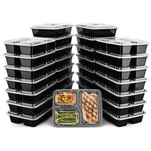 BloominGoods Meal Prep Containers | 3 Compartment Food Storage Container with Lids | Microwave, Dishwasher Safe, Reusable Portion Control Plates (30-Pack)