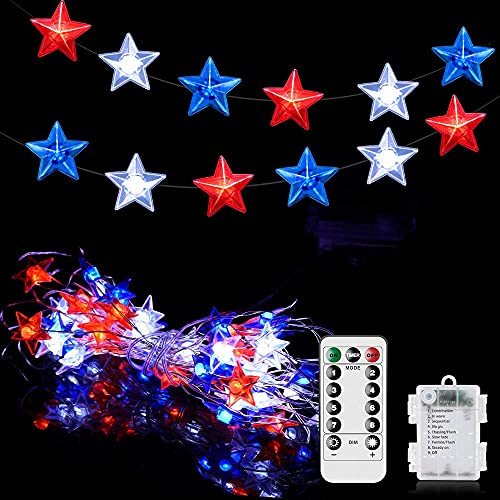 4th of July Decorations,23Ft 60 Led American Star String Lights with Remote Timer,Red White Blue Patriotic Decor Fairy Lights Battery Operated for Indoor Outdoor Independence Day Decoration