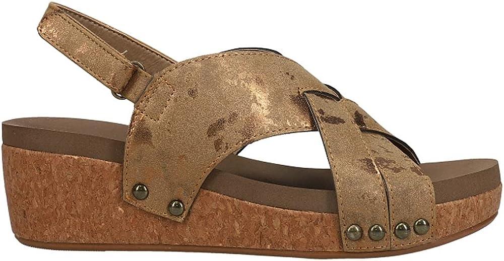 Corkys Womens Wow Metallic Platform Sandals Sandals Casual - Black