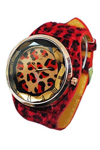 reloj - WOMAGE Reloj de pulsera de correa de cuero artificial de Estampado de leopardo de mujer de gran tamano Rojo